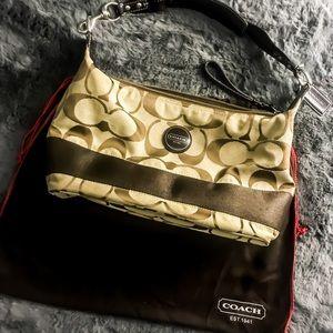 COACH brown jacquard shoulder bag